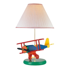 Lite Source Lighting Airplane Lamp Green Table Lamp with Coolie Shade