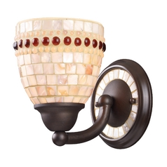Sconce with Beige / Cream in Aged Bronze Finish