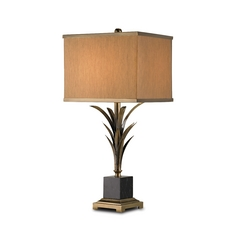 Table Lamp with Beige / Cream Shade in Antique Brass/black Finish