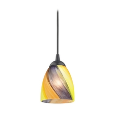 Design Classics Lighting Black Mini-Pendant Light with Multi-Colored Art Glass 582-07  GL1015MB