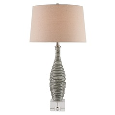 Currey and Company Trieste Gray/clear/brushed Nickel Table Lamp with Empire Shade