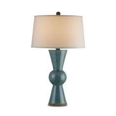 Table Lamp with White Shade in Teal Finish