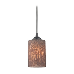 Design Classics Lighting Modern Mini-Pendant Light with Brown Art Glass 582-07  GL1016C