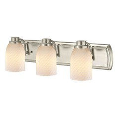 3-Light Bath Wall Light in Satin Nickel with White Art Glass