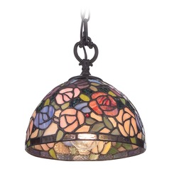 Quoizel Lighting Rosa Imperial Bronze Mini-Pendant Light with Bowl / Dome Shade