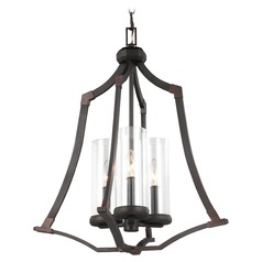 Feiss Lighting Jacksboro Dark Antique Copper / Antique Copper Pendant Light with Cylindrical Shade