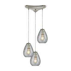 Lagoon Satin Nickel Multi-Light Pendant with Oval Shade