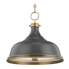 Hudson Valley Distressed Bronze Pendant Light with Distressed Bronze Metal Shade