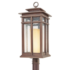Post Light with Clear Glass in Cottage Bronze Finish