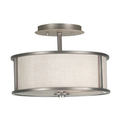 Modern Semi-Flushmount Light with White Shade in Bronze Gilt Finish