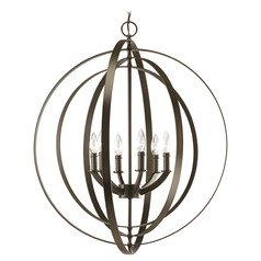 Progress Orb Chandelier Pendant Light in Bronze Finish