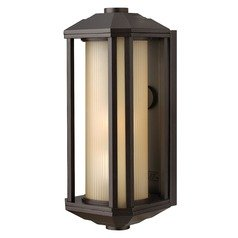 Outdoor Wall Light with Amber Glass in Bronze Finish