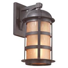 Outdoor Wall Light with Amber Glass in Natural Bronze Finish