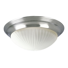 Progress Lighting Progress Flushmount Light with White Glass in Brushed Nickel Finish P3762-09EBWB