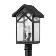Seeded Glass Post Light Black Hinkley Lighting