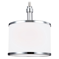 Feiss Lighting Prospect Park Satin Nickel / Chrome Mini-Pendant Light with Drum Shade