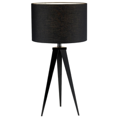Modern Table Lamp with Black Shade in Black Finish