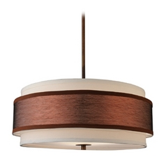 Design Classics Lighting Bronze Drum Pendant Light with Two Shades DCL 6528-604 SH7452  KIT