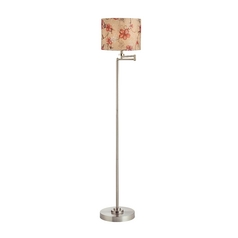 Design Classics Lighting Pauz Swing Arm Floor Lamp with Prairie Rose Lamp Shade 1901-09 SH9512