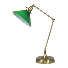 House Of Troy Otis Antique Brass Table Lamp with Conical Shade