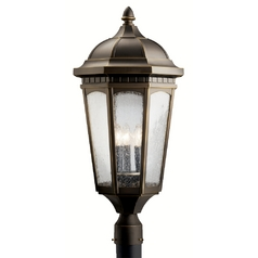 Kichler Post Light with Brown Glass in Rubbed Bronze Finish