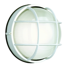 Outdoor Wall Light with White Glass in Matte White Finish