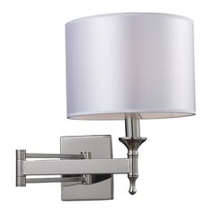 Modern Wall Light with Grey Shade in Polished Nickel Finish