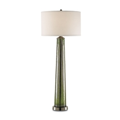 Modern Table Lamp with White Shade in Green/nickel Finish