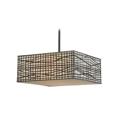 Modern Pendant Light with White Shades in Bronze Finish