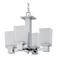 Modern Mini-Chandelier with White Glass in Polished Chrome Finish