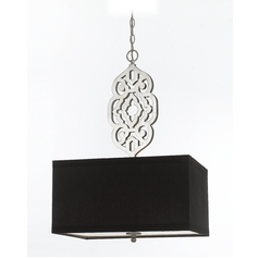 AF Lighting Silver Foil Pendant Light with Rectangle Shade