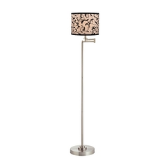 Swing Arm Floor Lamp with Filigree Drum Lamp Shade