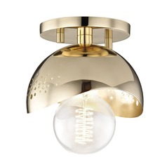 Mid-Century Modern Semi-Flushmount Light Brass Mitzi Heidi by Hudson Valley
