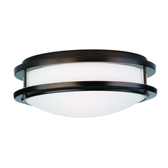 Modern Flushmount Light with White Glass in Merlot Bronze Finish