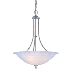 Modern Pendant Light with Alabaster Glass in Satin Nickel Finish