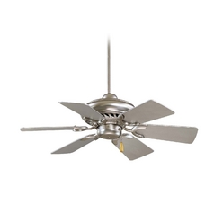 32-Inch Ceiling Fan Without Light in Brushed Steel Finish