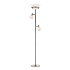 Design Classics Lighting Torchiere with Two Directional Side Lights and Alabaster Glass 805-09