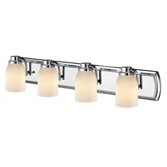 4-Light Bath Vanity Light in Chrome with White Art Glass
