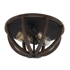 Feiss Lighting Allier Weather Oak Wood / Antique Forged Iron Flushmount Light