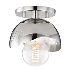 Mid-Century Modern Semi-Flushmount Light Polished Nickel Mitzi Heidi by Hudson Valley
