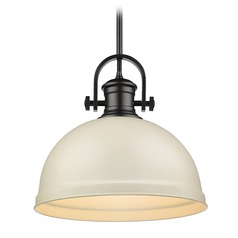 Golden Lighting Temporary Black Pendant Light with Bowl / Dome Shade