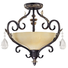 Minka Lighting Semi-Flushmount Light with White Glass in Castlewood Walnut W/silver Highlights Finish 770-301