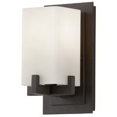 Modern Sconce with Beige / Cream Glass in Oil Rubbed Bronze Finish