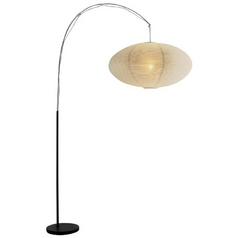 Adesso Home Lighting Modern Arc Lamp with White Paper Shade in Black Finish 6431-01