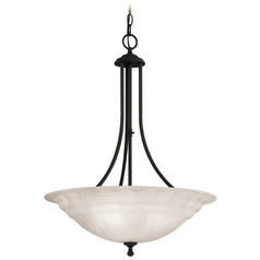 Modern Pendant Light with Alabaster Glass in Royal Bronze Finish