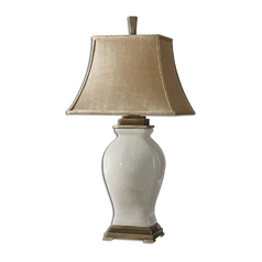 Table Lamp with Beige / Cream Shade in Aged Ivory Finish