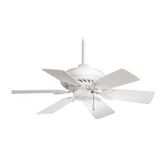 32-Inch Ceiling Fan Without Light in White Finish