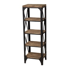 Sterling Lighting Washed Pine / Restoration Black Shelving