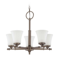 Modern Chandelier with White Glass in Aged Pewter Finish
