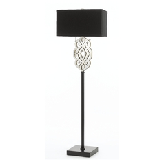 Floor Lamp with Black Shades in Silver Foil Finish